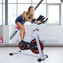 Homcom Bicicleta Estática Bicicleta de Fitness Pantalla Lcd Asiento y Manillar Ajustable Resistencia Regulable Carga 120Kg 107X48X100Cm Acero Blanco<b