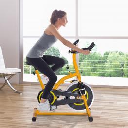 Homcom Bicicleta Estática Para Spinning y Fitness Con Pantalla Led<br> - Color Amarillo y Negro<br> - Acero y Aluminio<br> - 105X50X115Cm<br> - Color: