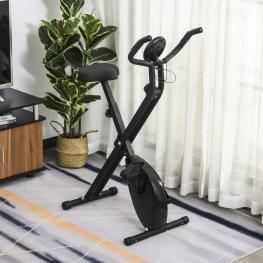 Homcom® Bicicleta Estática Plegable Bicicleta Magnética Xbike Con Resistencia Ajustable<br> - Color: Negro