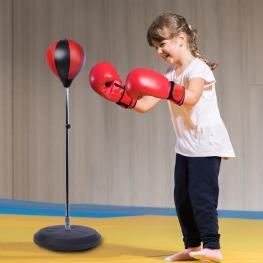 Homcom Bola de Boxeo de Pie Punching Ball Ajustable En Altura Con Base Rellenable de Arena O Agua Estable Resorte Incluye Guantes y Bomba φ43X125-145