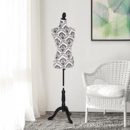Homcom® Busto de Señora Maniquí Femenino de Costura Para Modistas Exhibición Altura Ajustable A 130-168Cm<br> - Color: Negro Blanco