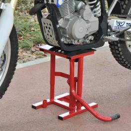 Homcom Caballete Elevador de Motocross de Acero Plataforma Altura Ajustable 28X34X30-40Cm Rojo  - Color: Rojo