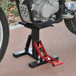 Homcom Caballete Elevador Universal Ajustable Para Moto Tipo Soporte de Motocross – Color Rojo y Negro– 28 X 17.5 X 24.5-35.5Cm  - Color: Rojo y Negro