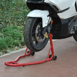 Homcom Caballete Elevador Universal Tipo Soporte Delantero de Moto Portátil y Móvil – Color Rojo – Acero – 80 X 50 X 40Cm  - Color: Rojo