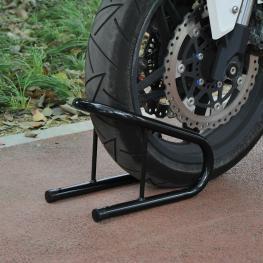 Homcom Caballete Elevador Universal Tipo Soporte Delantero de Moto Portátil y Móvil €� Color Negro €� Acero €� 32 X 20 X26Cm - Color: Negro