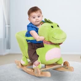 Homcom® Caballito Balancín Bebé +18 Meses Madera Con Ruedas Para Rodar  - Color: Verde