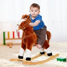 Homcom® Caballito Balancín Bebé Para Niños +3 Años Con Sonidos Marrón 74X28X65Cm  - Color: Marrón