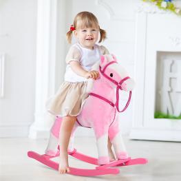Homcom® Caballito Balancín Bebé Para Niños +3 Años Con Sonidos Rosa 74X28X65Cm<br> - Color: Rosa