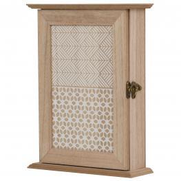 Homcom Caja Llavero de Pared Tipo Armario de Madera Para Llaves Con 6 Ganchos Estilo Vintage - 20X6.5X26.5Cm - Color: Madera