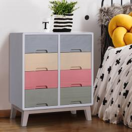 Homcom® Cajonera Cómoda 8 Cajones Mesilla de Noche Para Dormitorio Salón Organizador Almacenaje Madera Maciza 55X30X65.5Cm - Color: Multicolor