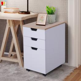 Homcom® Cajonera Tipo Archivador Móvil Para Organizar Oficina Color Blanco 33 X 45 X 60Cm<br> - Color: Blanco