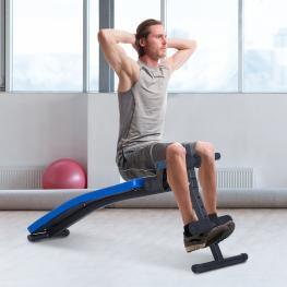 Homcom Carga 110Kg Banco de Musculación Banco Abdominal Pesas Plegable Ajustable A 4 Niveles Para Fitness Entrenamiento Acero - 144X47Cm -