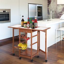 Homcom® Carrito Cocina Servicio Auxiliar Madera Metal Cromado 6 Ruedas  - Color: Color Madera
