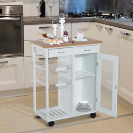 Homcom® Carrito de Cocina Multiusos Estantería Con Ruedas Para Baño Dormitorio Madera 70X37X85Cm<br> - Color: Blanco