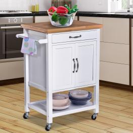 Homcom® Carro de Cocina Carrito de Servir Multiusos Estantería Carrito Auxiliar Con Ruedas 65X48X90Cm  - Color: Blanco