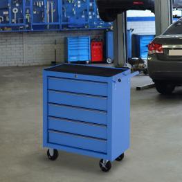 Homcom® Carro de Herramientas Metálico 5 Cajones y 4 Ruedas<br> - Color Azul<br> - Color: Azul