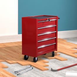 Homcom Carro de Herramientas Rojo Chapa de Acero 67.5 X 33 X 77Cm<br> - Color: Rojo