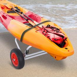 Homcom® Carro de Transporte Kayak Plegable Barco Canoa Carrier Remolque Carretilla Carga 60Kg Con Ruedas 60X30X37Cm  - Color: Plateado y Negro