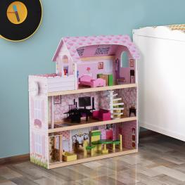 Homcom® Casa de Muñecas Con 13Pcs Madera 3 Pisos 60X30X71.5Cm - Color: Rosa