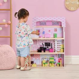 Homcom® Casa de Muñecas Con 13Pcs Muebles Mobiliario Casita Muñeca Juguete Madera 3 Pisos 60X30X71.5Cm  - Color: Rosa