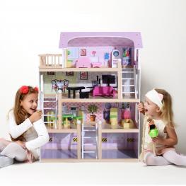 Homcom® Casa de Muñecas de Madera Con Muebles Mobiliario Rosa 60X30X80 Cm - Color: Rosado