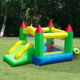 Homcom Castillo Hinchable Para Niños - Tela de Nylon 420D - Color Verde - 300X180X160 Cm - Color: Multicolor