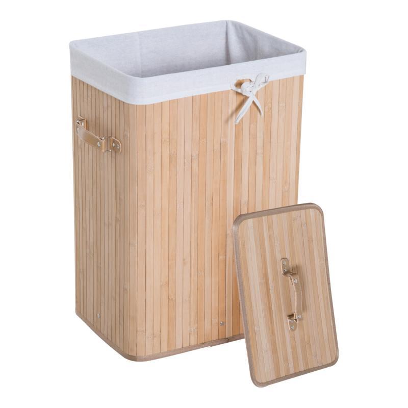 LIMAL Colada la l/ínea bamb/ú Caja de la Ropa Sucia Cesto con Tapa Color Blanco marr/ón 55/x 50/x 30/cm