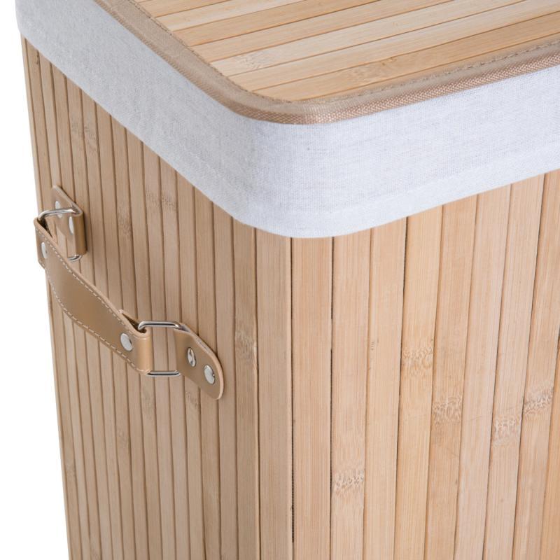 HomCom/® Cesto para Ropa Sucia Plegable con Tapa Cesta de Lavander/ía Rectangular Bamb/ú 70L con Asas 40x30x60cm Marr/ón