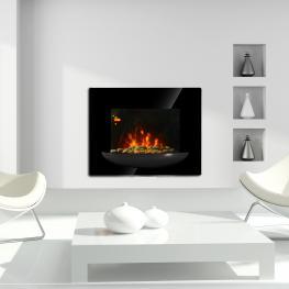 Homcom Chimenea Eléctrica Con Calefacción y Llama Led Decorativa - Hierro - Color Negro - 66X13,5X52 Cm - Color: Negro