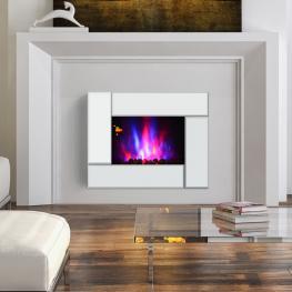 Homcom® Chimenea Eléctrica de Pared Con Marco de Espejo 7 Colores de Llama Control Remoto Programable 66X52X10.7Cm Vidrio y Metal<br> - Color: Platead