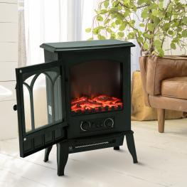 Homcom® Chimenea Eléctrica de Pie Calefactor Estufa 1000/2000W Llama Led Con Termostato 41.5X28X54Cm<br> - Color: Negro