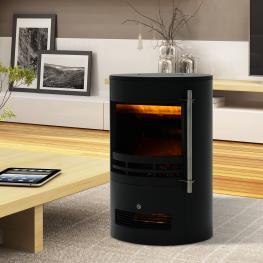 Homcom® Chimenea Eléctrica Móvil Estufa Con Termostato 900W/1800W Efecto Fuego Led 41X41X64.5Cm<br> - Color: Negro