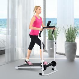 Homcom® Cinta de Andar Manual Caminadora Plegable Portátil Pantalla Lcd 2 Niveles de Inclinación Carga 110Kg Blanco -