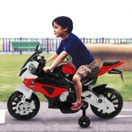 Homcom Coche Correpasillos A Batería Niños 3-8 Años Moto Eléctrica Infantil 12V Con Luces y Sonidos Ruedas Seguras 110X47X69Cm Pp -