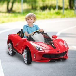 Homcom Coche de Batería Para Niños +3 Años Con Luces y Sonido- Diseño Deportivo<br> - Color Rojo<br> - 130X71X52 Cm<br> - Color: Rojo