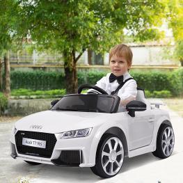 Homcom Coche Eléctrico Audi Infantil Coche Juguete Niños Mayores de 3 Años Con Mando A Distancia Con Música y Luces Batería 6V Doble Apertura de Puert
