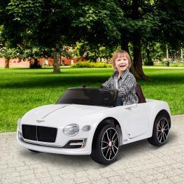 Homcom® Coche Eléctrico Para Niños Mayores de 3 Años Bentley Con Mando A Distancia Mp3<br> - Color: Blanco