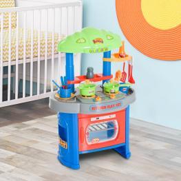 Homcom® Cocina de Juguete Con Luz Sonido y 12 Accesorios Para Niños 46X30X67Cm<br> - Color: Multicolor