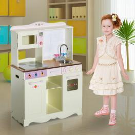 Homcom Cocina de Juguete de Madera Grande y de Lujo Juego de Imitación Con Accesorios<br> - Color Crema<br> - 70X30X90Cm<br> - Color: Crema