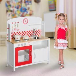 Homcom Cocina de Juguete Grande de Madera Tipo Juego de Imitación Con Accesorios Para Niños +3 Años<br> - 70X30X88Cm<br> - Color: Blanco