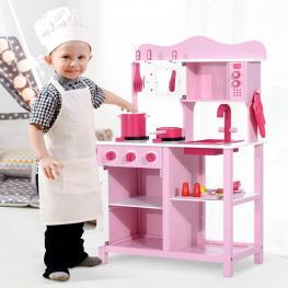 Homcom Cocina de Juguete Infantil Con Accesorios<br> - Madera<br> - Color Rosa<br> - 60X30X84,5 Cm<br> - Color: Rosado