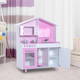 Homcom® Cocina Madera Juguete Para Niños +3 Años Rosa 110X32.5X99.5Cm<br> - Color: Rosa