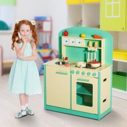 Homcom Cocinita de Juguete de Madera Con 12 Accesorios Para Niños + 3 Años<br> - Color Verde<br> - 70X30X88Cm<br> - Color: Multicolor