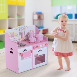 Homcom Cocinita de Juguete de Madera Para Niños +3 Años Con Accesorios Multicolor<br> - 60X30X62Cm<br> - Color: Multicolor