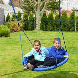 Homcom Columpio de Nido Jardín Plegable Asiento de Columpio Infantil Interior y Exterior Carga 100Kg Tela de Oxford -Φ100X180Cm -