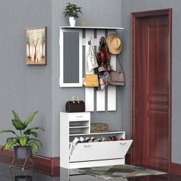 Homcom Conjunto de Muebles de Entrada Recibidor 2 Piezas Perchero Armario Con Espejo y Zapatero Con Cajón Estantería Blanco  - Color: Blanco