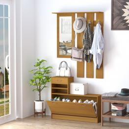Homcom® Conjunto de Muebles de Entrada Recibidor Pasillo Set de 3 Piezas Perchero Espejo Zapatero Con Cajón Madera<br> - Color: Madera