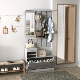 Homcom® Conjunto de Muebles de Entrada Recibidor Pasillo Set de 3 Piezas Perchero Espejo Zapatero Con Cajón 90X22X116Cm Gris<br> - Color: Gris