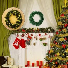 Homcom® Corona de Navidad Guirnalda Decorativa de Navidad φ55Cm  - Color: Verde