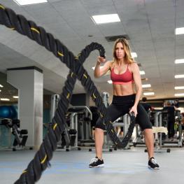 Homcom Cuerda de Batalla Battle Rope Para Ejercicio y Formación de Fitness y Crossfit Ф38Mm Longitud 12M Material Poliéster Ultra Resistente - Color: